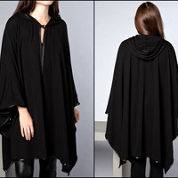 Black Cloak Loose Cape Jacket Faux Leather Trimmed Hooded