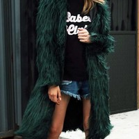 Dark Green Fluffy Hooded Faux Fur Longline Coat