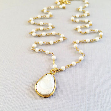 Freshwater Pearls, Wire Wrapped in 24k Gold Vermeil and Pearl Teardrop Bezel Pendant