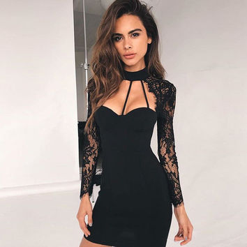 Slim Lace Sexy Club Skirt Women's Fashion One Piece Dress [11462534927]