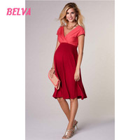 Belva ECO-FRIENDLY dresses pregnant women Bamboo Fiber maternity casual dresses V-Neck Swing Dress for pregnancy women DR921
