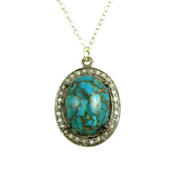 Blue Turquoise Diamond Necklace Natural Diamond Halo Sterling Silver 925 Turquoise Necklace Diamond Slice Natural Stone Statement Necklace