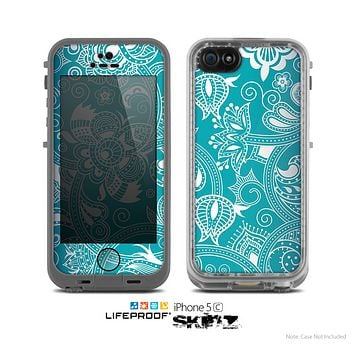 The Turquoise Fancy White Floral Design Skin for the Apple iPhone 5c LifeProof Case