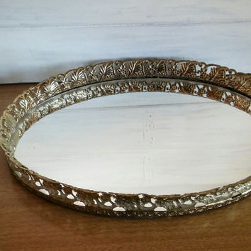 Vintage Dressing Mirror Filigree Metal Frame, Vintage Vanity Mirror Tray Gold Filigree Frame