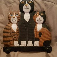 Wooden Three Whimiscal Cat Wall Decor Coat, Purse, Clothes Hanger
