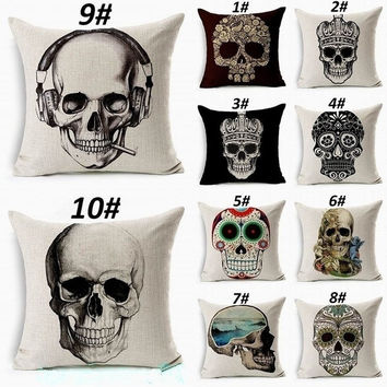 Vintage Retro Home Decor Skull Sugar Cotton Linen Throw Pillow Sofa Cover Case = 1705632644