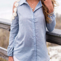 Blue Daisy Cold Shoulder Long Sleeve Shirt