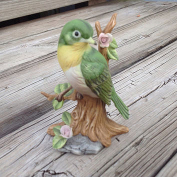 Vintage Green and Yellow Bird Porcelain Figurine by London Ed. D Day #2712