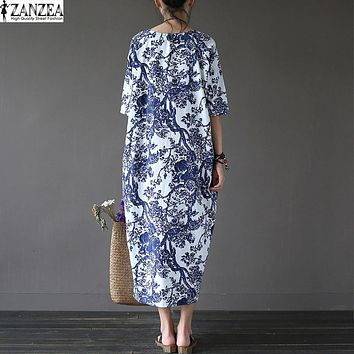 L-5XL ZANZEA Womens Floral Printed Short Sleeve Cotton Linen Maxi Long Dress Loose Baggy Boho Casual Kaftan Tunic Plus Size 2017