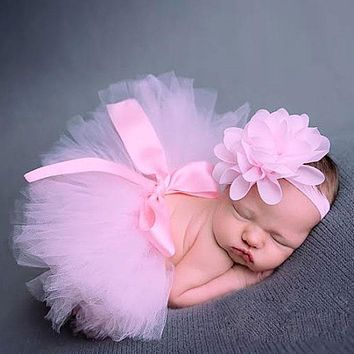 Baby Newborn Photography Props Baby Tutu Skirt Pink Photo Props Headband Baby Hat Photography Set