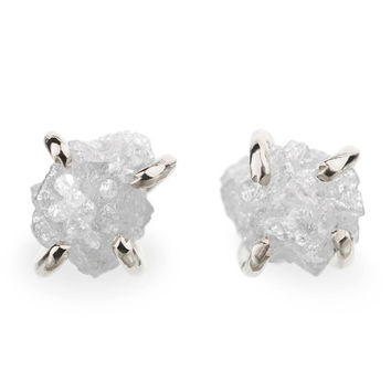 2 Carat Rough Diamond Earrings, 14k White Gold