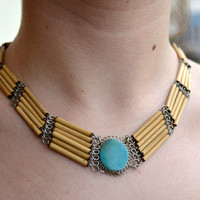 Vintage necklace, antique necklace, tribal style, with stone