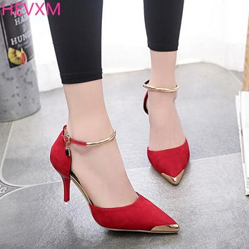HEVXM High Heels Ladies Pumps Suede Gold Metal Pointed Toe Sexy Thin Air Heels Footwear Woman's Red Sandals Party Wedding Shoes