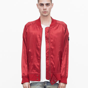 Babylonian Deluxe Satin Bomber Jacket in Cardinal Red