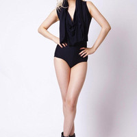 Hooded Matte Black Bodysuit | Black Milk Clothing