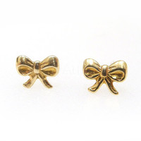 Black Friday Sale,Cyber Monday,Bow Stud Earrings,Ribbon Earrings,Tiny Bow Earrings,Golden Brass Earrings,Bow Jewelry,Hypoallergenic Studs
