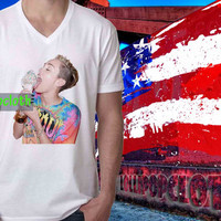 V-Neck_MIley Cyrus Ice Cream_V-Neck Women And Men's.