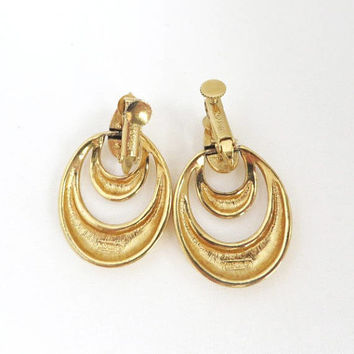 Napier Hoop Earrings, Vintage Dangling Hoop Earrings, Goldtone Clip on Hoops, Signed Napier Jewelry, FREE SHIPPING