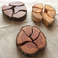 3 Unique Natural Wood Puzzles,Natural Wooden Slice Puzzle,Handmade Natural Wood Unique Wooden Puzzle, Oak, Birch and Plum Tree Wooden Puzzle