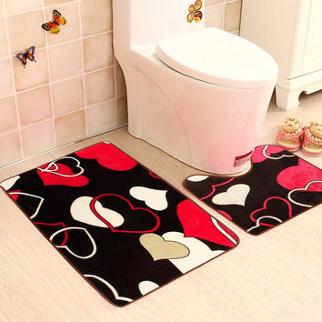 2pcs Caroset Bath Pedestal Mat Toilet Antislip Floor Rugs Set