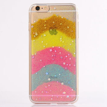 Gold Rainbow Glitter Star Case For iPhone