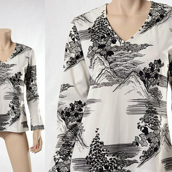 Vintage 60s LANVIN Graphic Landscape Top 1960s Black and White Mountain Asian Trees Floral Print Blouse Groovy Mod Shirt size Medium