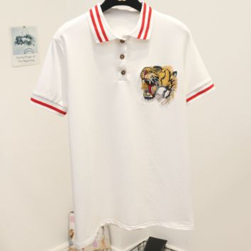 GUCCI 2018 summer tiger head embroidery wild short-sleeved T-shirt F0242-1 White