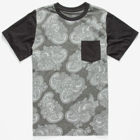Blue Crown Paisley Mens Pocket Tee Black  In Sizes