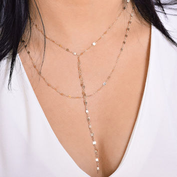 Double Strand Lariat Necklace, Cameron Diaz Necklace, Jaclyn Hill Necklace, Sparkly Chain, Double Wrap Necklace,Gold Fill or Sterling Silver