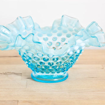 Fenton Opalescent Hobnail Blue Frilled Bowl Candy Dish, Vintage Fenton Art Glass Aqua and White