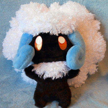 Pokemon inspired shiny Whimsicott Elfuun 30 cm high plushie made of minky and curly faux fur, super cuddly plush