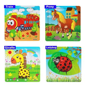 Cartoon Baby Puzzle Wooden Small Piece Kids Toy 3D
