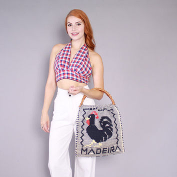 70s Ethnic PURSE / 1970s Woven ROOSTER Madeira Tote Handbag
