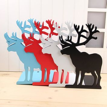 2 pieces/lot Bookend Bookshelf Gift Deer Iron Desk Organizer Korean Fashion Cute Metal Bookends Book Stationery Support Holder