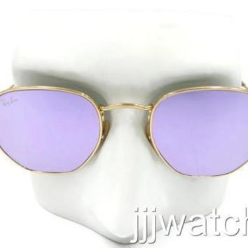 Ray Ban Round Hexagonal FLAT Lenses Lilac Gold Sunglasses RB3548N 001 80 48 $178
