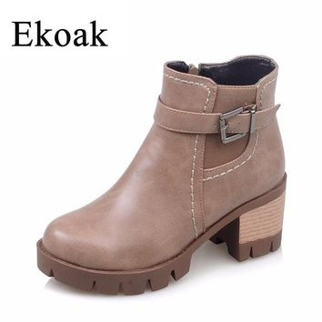Ekoak New 2017 Fashion Martin Boots Autumn Women Leather Motorcycle Boots Casual Round Toe Zip Plush Women Ankle Boots