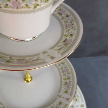 High Tea Plate Stand, Teastand, 3 Tier Teacup Cake Stand,  | Baby Bridal Wedding Shower | Pale Blue, Pale Pink Flowers (Item# 00188-3)