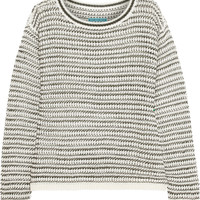 Alice + Olivia Ethan striped open-knit linen-blend sweater – 55% at THE OUTNET.COM
