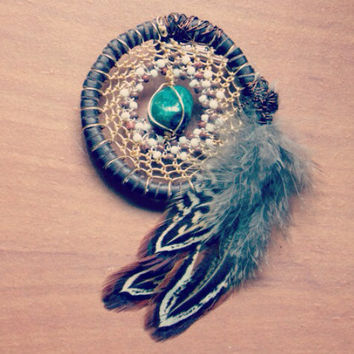 Elegant Dream Catcher Pin with Bead Pattern and Moss Agate Heady Hat Pin Wire Wrap