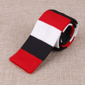 Red, Black, and White Striped Knitted Tie