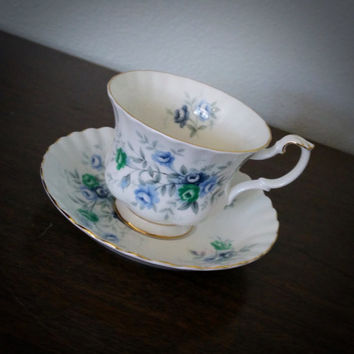 Vintage Royal Albert Inspiration blue flower teacup, floral tea cup and saucer set, English bone china