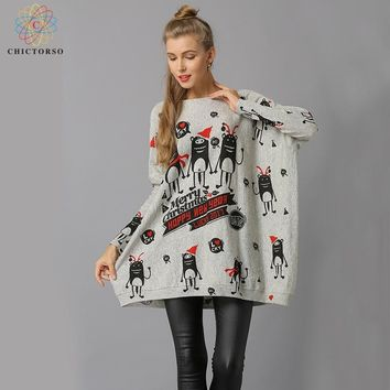 Chictorso Loose Fit New Year Cartoon Print Women Christmas Sweater Dress Casual Slouchy Long Sweaters Pullover Girls Jumper Gift