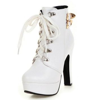 KEMEKISS - Double Buckle Lace Up Round Toe Platform Boots*