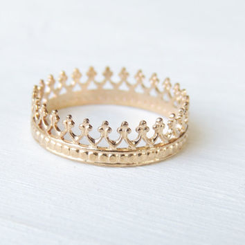 Gold Crown Ring, 14k Gold Ring, Wedding Ring, Delicate Gold Ring, 14k Gold Band, Yellow Gold Ring, Stacking Ring, Recycled Gold Ring