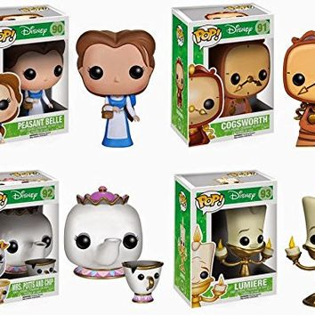 Funko Disney BEAUTY & THE BEAST 4PC 3.75 POP FIGURE SET - Lumiere - Mrs. Potts & Chip - Cogsworth - Peasant Belle
