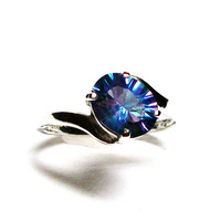 "Petalite, petalite ring, rainbow ring, solitaire ring, pink blue purple,  s 8   ""Fireworks"""