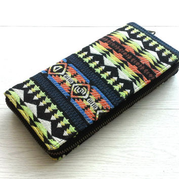 Navajo Southwestern Zippered Wallet, Womens Long Wallet Clutch, Handmade Aztec fabric iPhone wallet, Boho travel wallet, YKK Metallic zipper