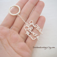 Signature Keychain/Handwriting Keychain in Sterling Silver - Handwriting Keychain - Handwritten Keychain - GIFT FOR HIM