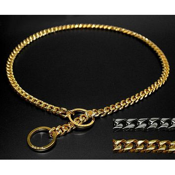Strong Silver Gold Stainless Steel Slip Dog Collar Metal Dogs Training Choke Chain Collars With Free Whistle
