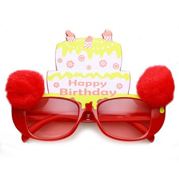 Happy Birthday Cake Furry Ball Colorful Bday Party Sunglasses